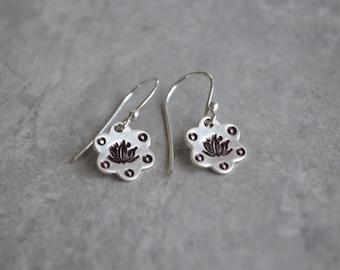 Lotus Sterling Silver wire earrings Eco Friendly Meditation Zen Yoga