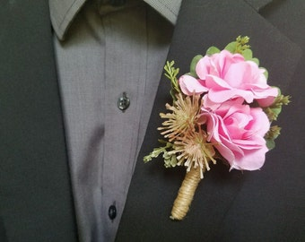 Wedding Boutonniere (Boutineer) - Pink Rose w Succulents and Greenery - Prom, Homecoming