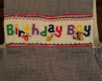 Navy Check Hand Smocked Birthday Boy Shortall-12 mos-6T