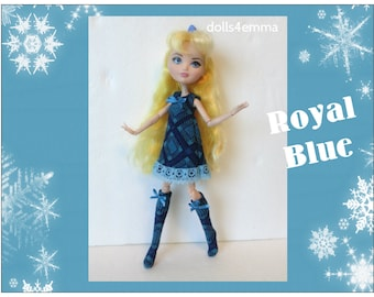 Ever After High Doll Clothes - Blue Dress and Knee Socks - Handmade Fashion by dolls4emma