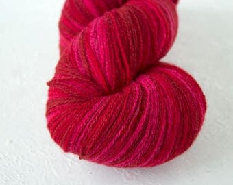 Gradient  wool, artistic Yarn for knitting, crochet.  Pink Red Aade Long