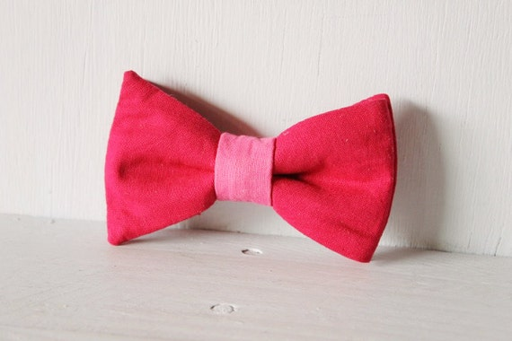 Dog bow tie >> Pink and mulberry bow with elastic >> Pet gift