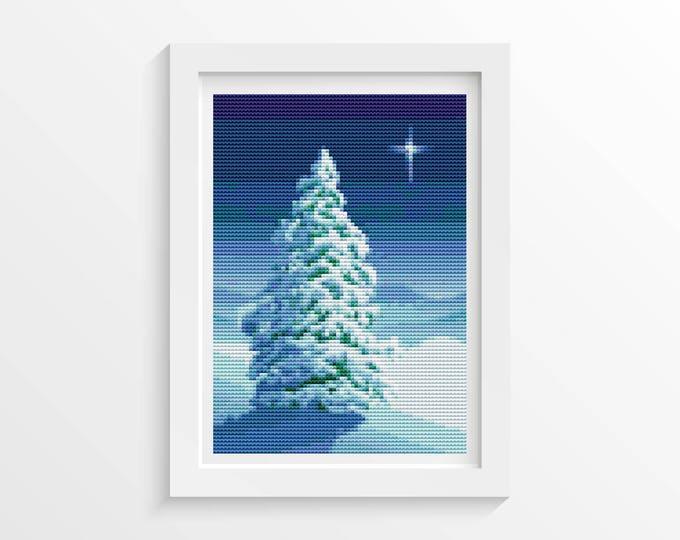 Mini Cross Stitch Pattern PDF, Embroidery Chart, Art Cross Stitch, Holiday Cross Stitch, Christmas Series: Winter Tree (TAS045)