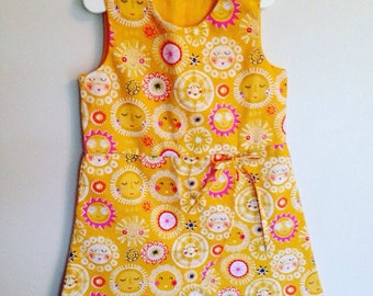 Handmade cotton wrapover dress for toddlers and girls age 3 years - yellow and magenta sunshine