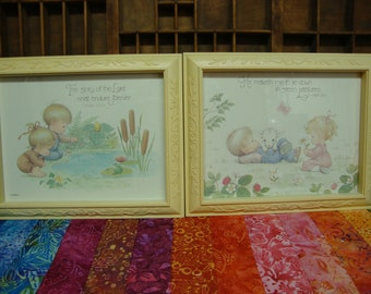 Pair of Vintage Pictures for Nursery or Child's Room, LIttle Girl and Boy Home Interiors Pictures