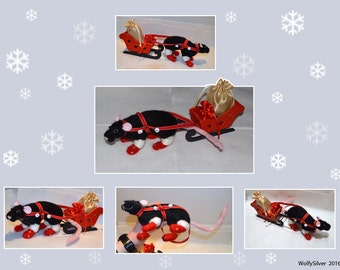Needle Felted Black Self Fancy Rat with Wooden Sleigh