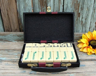 Dominoes UNOPENED Set Of 28 Marked Barbados Metal Spinners In Travel Case Arts & Crafts Supplies UpCycle ReCycle