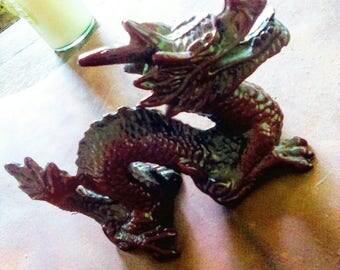 Vintage Red Resin Dragon Statute
