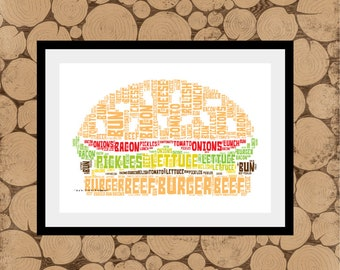 Burger Print, Personalised Burger Print, Burger Word Art, Burger Word Collage, Burger Word Cloud, Gift For Teenager, Gift For Burger Fan.