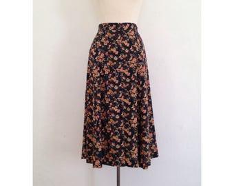 floral midi skirt vintage highwaisted floral skirt women long full skirt rayon high waisted button up