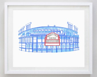Wrigley Field Stadium Chicago Watercolor Print