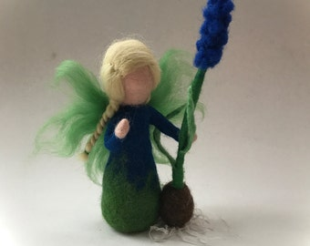 Muscari flower fairy.Wet  felted. Waldorf. Felted.  Winter.Spring