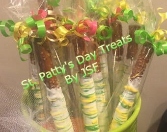 """Chocolate covered """"St.. Pattys Day"""" pretzels"""