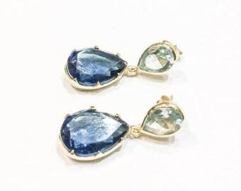 Hydro Iolite and Blue Topaz Stud Earrings