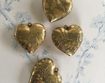Vintage Heart Pendants, Vintage Brass Heart Charm, 2Pcs
