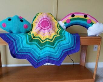 Sunny Rainbow Baby Blanket and Pillows Set