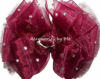 Glitzy Burgundy Bow, Red Wine Tutu Bow, Burgundy Organza Satin Tulle Floral Rose Barrette, Flower Girls Wine 4 Inch Large Hair Bow Barrettes