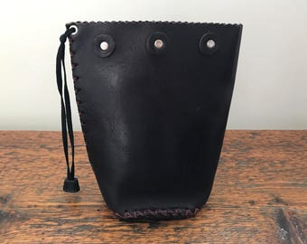 Hand-Stitched Leather Pouch / Hand Made Leather Clutch / Leather Purse / Handmade Leather Bag / Leather Cosmetic Bag