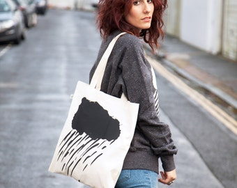 Rain Cloud - Tote Bag, Shopping Bag,  Cotton Tote - hand screen printed - 100% Certified Organic Cotton - by Mileseed