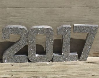 Silver Glitter 2017 Graduation Decoration Graduation Centerpiece Numbers Photo Prop