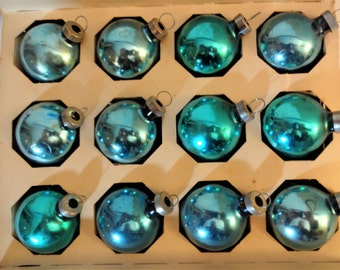 12 Vintage  Mercury Glass Ornaments In Original Woolworth Box  - Soft Turquoise/Aqua - Shabby Cottage Chic - Glass Christmas Ornaments -