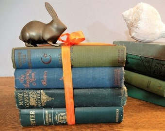 Vintage Victorian Book Bundle - 4 Blue and Green Decorative Antique Books - Pretty Books - Home Decor - Photo Props - Wedding Decor