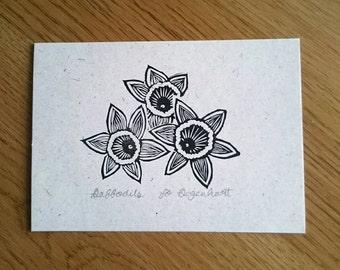 Daffodil original Lino print, original print, Spring Mini Print, Daffodils print, mother's day gift