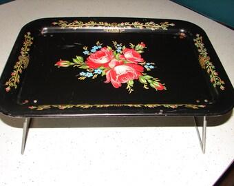 Shabby Chic Black Floral Rose Metal Lap TV Tray... Mid Century Decor