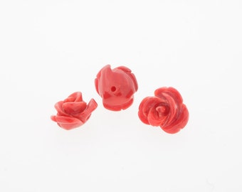 9mm Rose red coral, half drilled, carved flower.