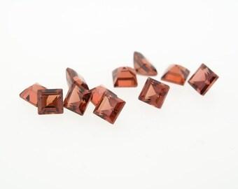3mm Square Carre Cut Alamandine Garnet
