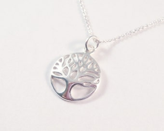 Sterling Silver Tree Of Life Circle Necklace, Tree Of Life Necklace, Sterling Silver Tree Necklace, Tree Necklace, Silver Circle Necklace