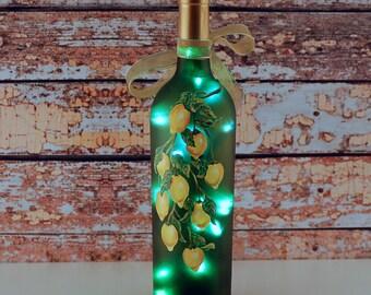 Wine bottle light, hand painted, yellow lemons