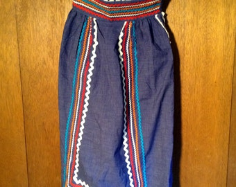 """High Waisted Maxi Skirt  by """"Denise are Here"""" - Hippie - Boho Bohemian - Folk Style - From 70s - Excellent"""