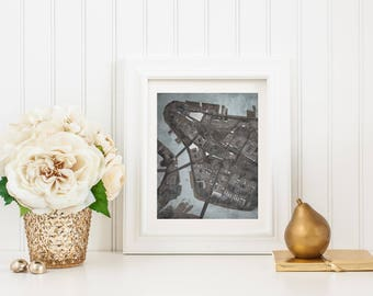 Abstract Map Print of Lower Manhattan, NYC