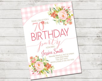 70th Birthday Party Invitation - 70th Birthday - Flowers and Gingham - Pink Coral Tan White - Printable