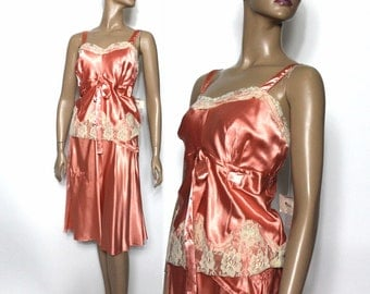 Vintage Lingerie//Skirt//Camisole// Designer Kit Cornell //NOS//Lace//Iridescent Sequins// Wedding//Honeymoon