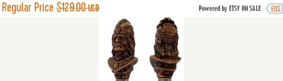 HOLIDAY SALE Syroco Wood Figural Bottle Opener / Cap Lifter of an Indian Chief Head