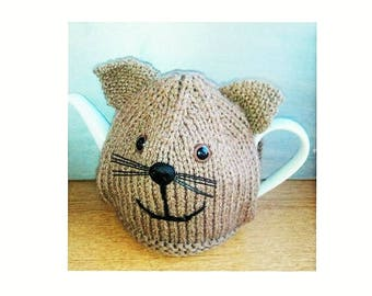 KNITTED TEA COSY - Hand Knitted Cosy - Teddy Bear Cosy - Knitted Cozy - Knitted Tea Cosies - Tea Cozies - Kitchen Gift - Kitchen Accessory