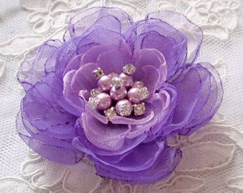 Singed Flower Singed Rose Organza Flower Fabric Flower Pearl and Rhinestone (3-3/4 inches) In Lt and dark purple MY-652-01 Ready To Ship