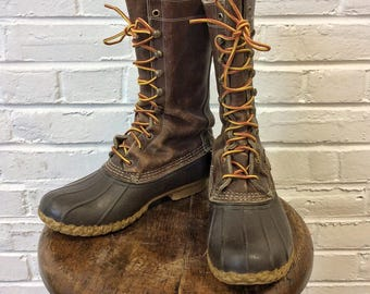 """Vintage LL Bean 12"""" Bean Boots Hunting Hiking Boots. US Men's 8 US Women's 10"""