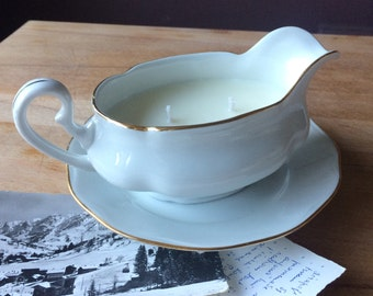 White gilded gravy/sauce boat and plate, created as a Tuscan Herbs-scented soy candle