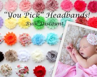 Pick Headband Quantity & Colors - Shabby Flower Headband Set - Bulk Headbands - Baby Girl Headband, Newborn Girl Headband