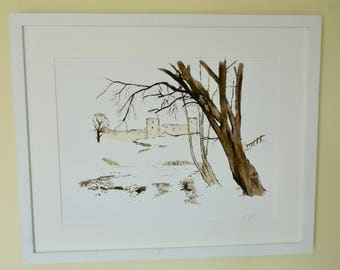 Barnard Castle Watercolour Giclee print: from the Views of the River Tees series