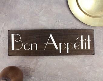 Bon Appetit Sign French Kitchen Art Sign Rustic Wood Sign Kitchen Art Kitchen Decor