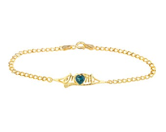 14Kt Yellow Gold Plated London Blue Topaz & Diamond Heart Mom Bracelet