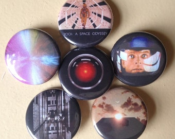 "2001 A Space Odyssey pin back buttons 1.25"" set of 6"