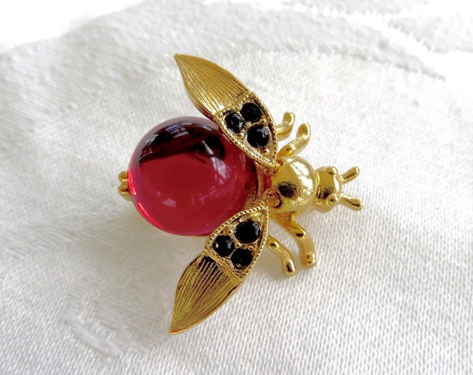 Trifari Bee Trembler Brooch, Jelly Belly Bee Pin, Vintage Insect Jewelry, Designer Signed Bug Pin