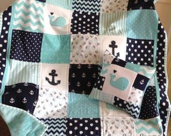 Nautical Coastal quilt/Handmade baby quilt/whale and anchor quilt/baby quilt/Coastal