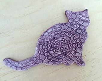 Cat fridge magnet. Ceramic magnets. Purple fridge magnet