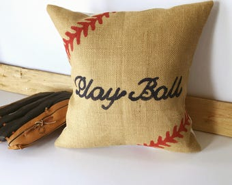 Play Ball Burlap Pillow Cover| Burlap pillows| Burlap pillow cover| Burlap decor| Farmhouse pillows| Farmhouse decor| Rustic pillow|
